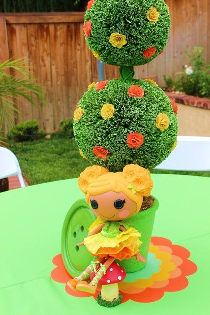 LalaLoopsy Birthday Party topiaries!  See more party ideas at CatchMyParty.com!