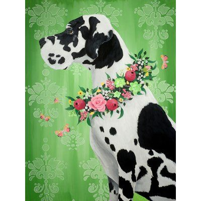 "East Urban Home 'Great Dane on Green' Graphic Art Print Size: 18"" H x 14"" W, Format: Canvas"
