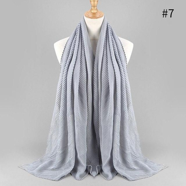 Large Size 180cm*80cm Pleated Crinkle Women's Hijab Scarf Muslim Head Wrap Shawl Plain Colours Female Scarves Headhand Lic  – Products