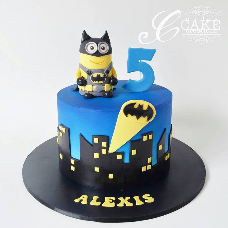 Batman minion cake! We've gone for a simplified Gotham city skyline silhouette…