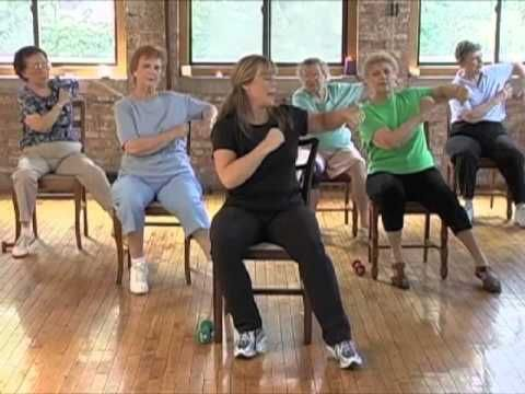 Stronger Seniors Chair Aerobics. This video clip focuses on the lower body. This Chair Exercise program helps seniors and the disabled get a great cardio workout.