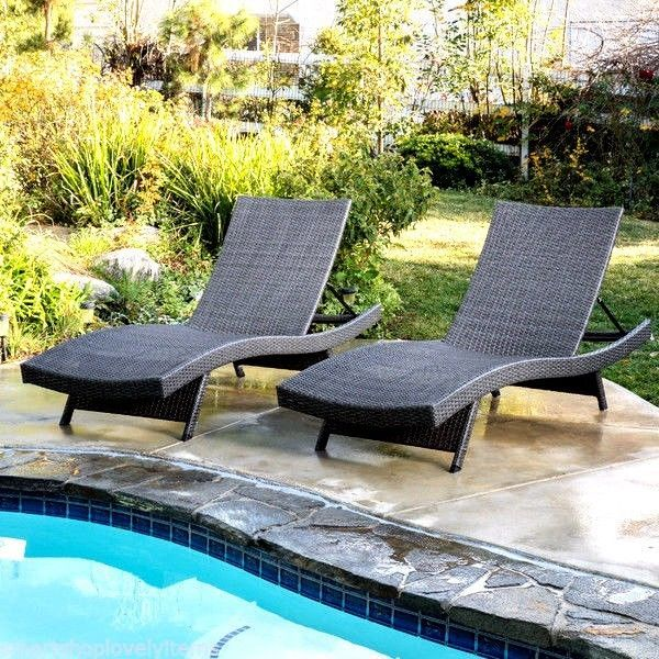 outdoor lounge chairs set of 2 patio chaise wicker adjustable pool furniture