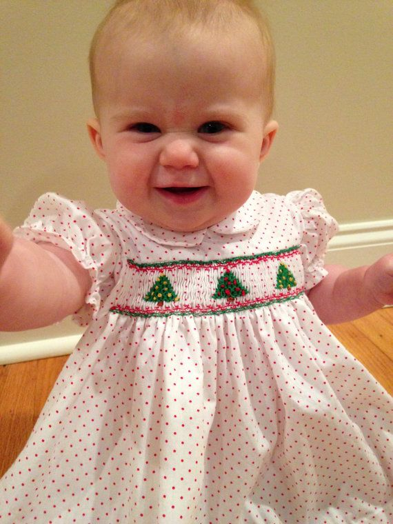 Newborn Baby Infant and Girls Smocked Christmas door BarleySews | pin maudjesstyling