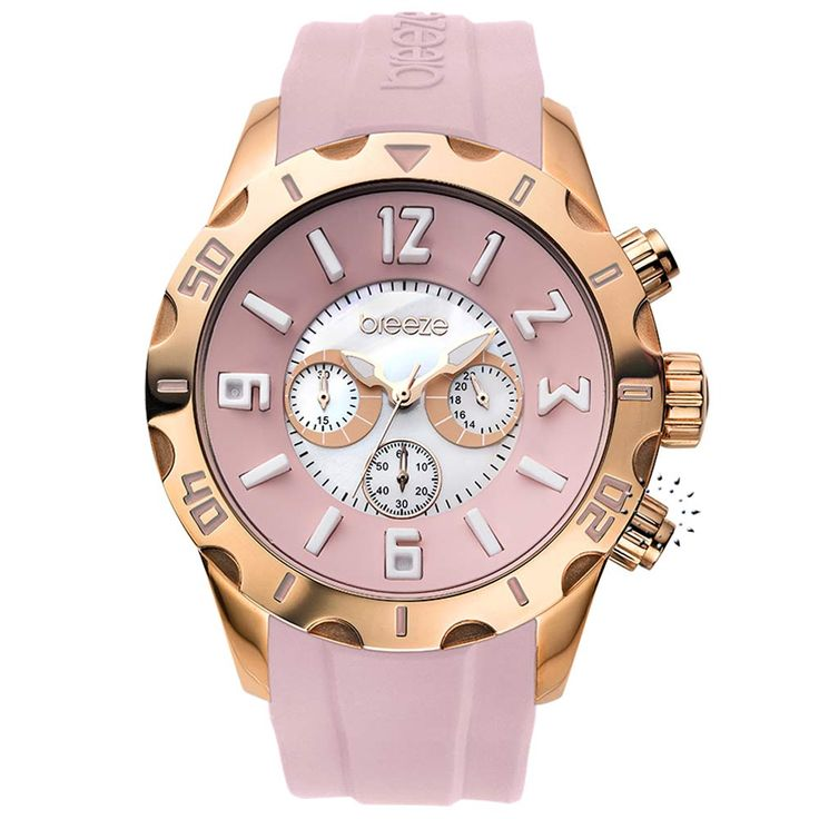 BREEZE California Dream Chrono Light Pink Rubber Strap Μοντέλο: 110051.10 Τιμή: 170€ http://www.oroloi.gr/product_info.php?products_id=30512