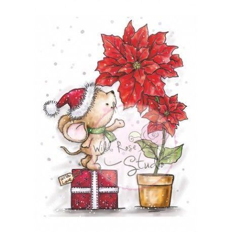 Tampon dessin Wild rose studio. Souris et fleur rose de Noël
