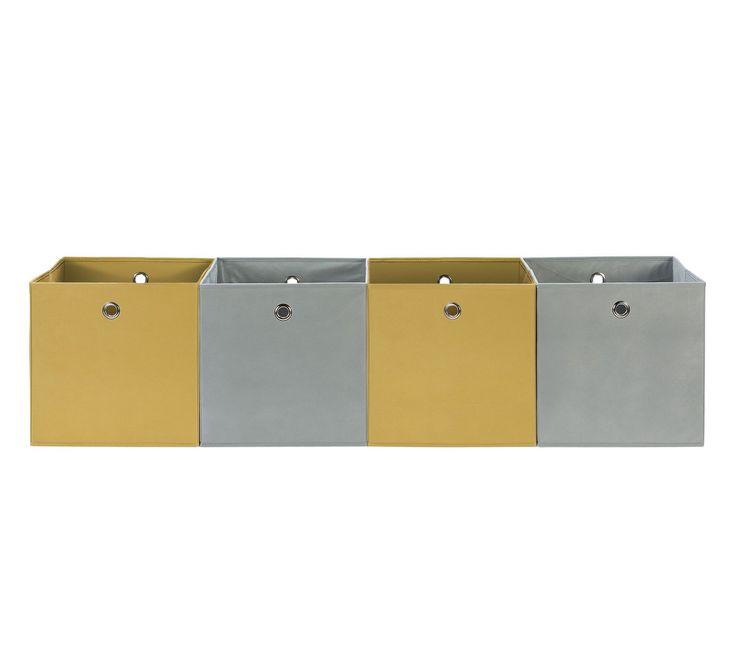 Buy Hygena Set of 4 Large Boxes - Soft Grey & Yellow at Argos.co.uk - Your Online Shop for Storage baskets and boxes, Storage, Home and garden.