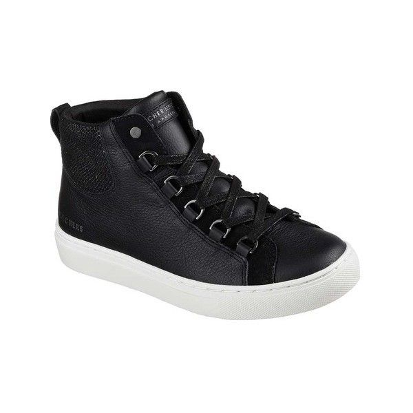 Women's Skechers Side Street Core-Set Hi Sneaker ($65) ❤ liked on Polyvore featuring shoes, sneakers, black, casual, wedge sneakers, black sneakers, hidden wedge sneakers, black hi top sneakers and metallic high top sneakers