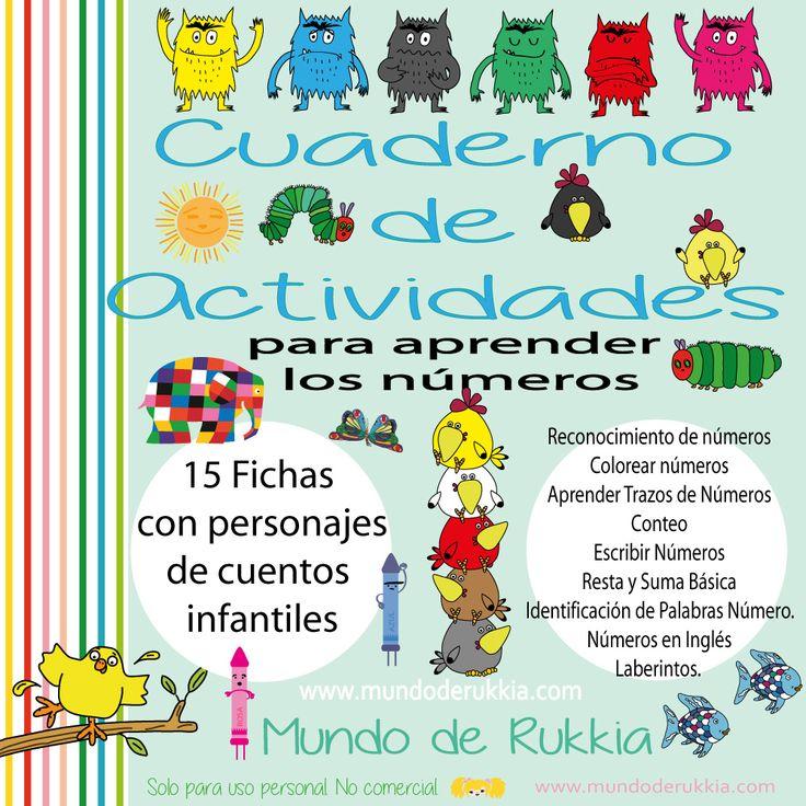actividades elmer, actividades monstruo de colores, actividades oruga glotona, aprender numeros, fichas matematicas, aprender jugando, imprimibles de cuentos infantiles, mundo de rukkia
