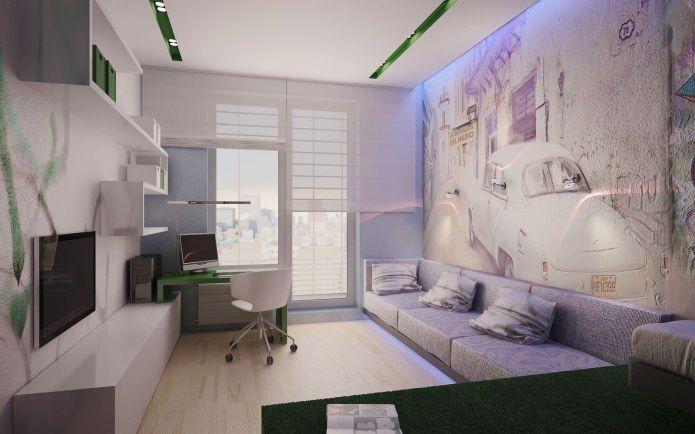 Небольшая площадь современных квартир, как правило, не дает возможности устроить отдельный полноценный рабочий кабинет. Но место для работы, тем не менее, необходимо большинству из нас. Поэтому, как правило, дизайнеры совмещают гостиную с кабинетом, что создает возможность и отдохнуть, и поработать в одном помещении.  Чтобы во время работы ничего не отвлекало, необходимо каким-то образом отгородить рабочее пространство от зоны отдыха.