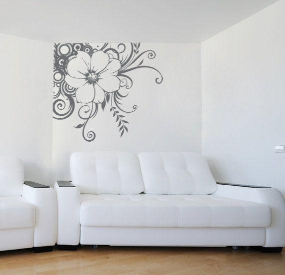 Large Swirled Bohemian Flower Decal for Corner in Living Room, Home, Dorm or Bedroom