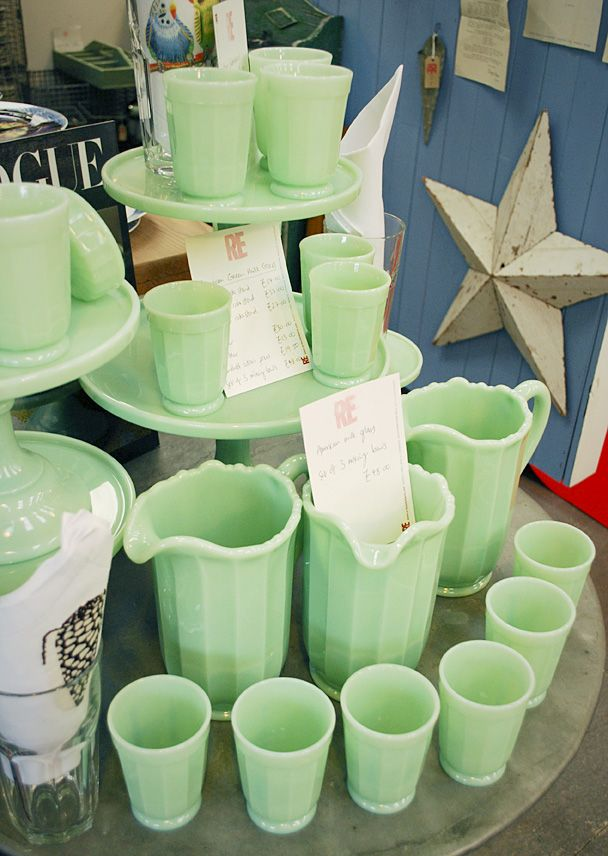 Green Milk Glass. It has the look of Jadite