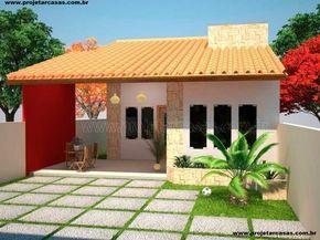 Projetar Casas | Projeto de casa térrea com 1 quarto e 1 suíte, varanda e cozinha americana - Cód 22