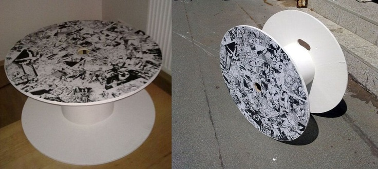 DIY customized wooden cable spool/coffee table by Tartatus.deviantart.com