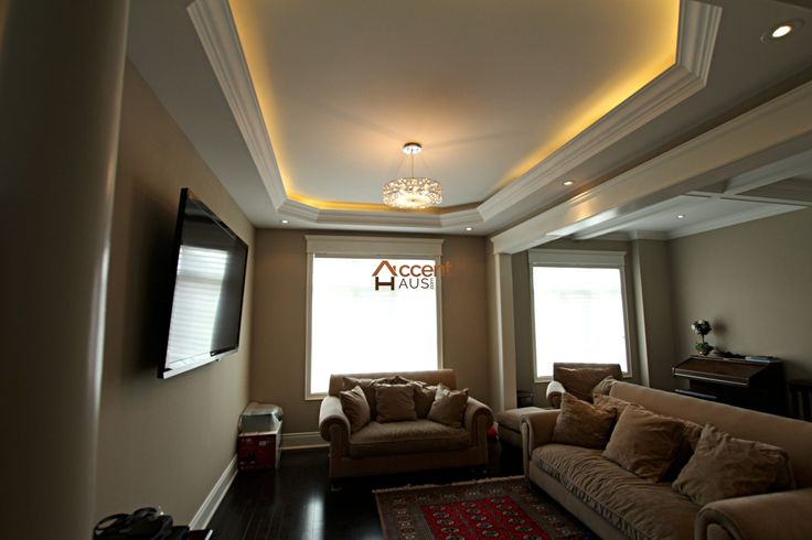 Modern Light Cove Ceiling in Living Room in a House Vaughan