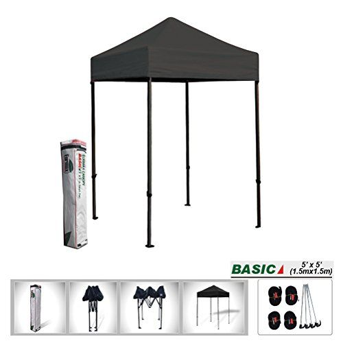 Eurmax 5 x 5 Ez Pop up Tent, Outdoor Patio Instant Canopy, with Deluxe Carry bag (Black) ** Learn more by visiting the image link.