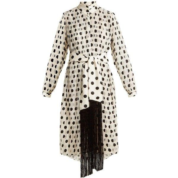Zimmermann Rife high-neck pleated polka-dot dress ($960) ❤ liked on Polyvore featuring dresses, black white, zimmermann dresses, long dresses, black and white long dress, polka dot dresses and pleated chiffon dress