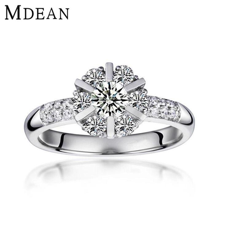 MDEAN trouwringen voor vrouwen geplatineerd vintage bague Engagement CZ diamant Sieraden vrouwen ringen mode-accessoires MSR033