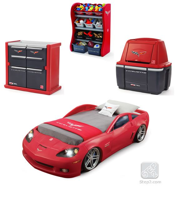 Corvette Bedroom Set Part - 16: Corvette Bedroom Combo By Is Our Most Popular Race Car Bedroom Set. This Set  Includes A Toddler To Twin Bed, Dresser And Organizer.