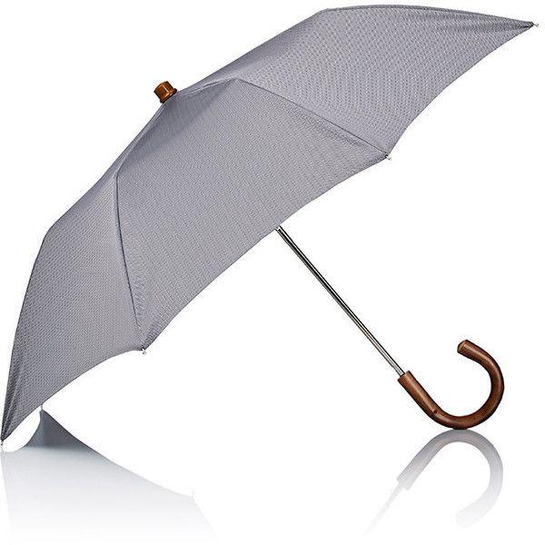 Barneys New York Men's Herringbone Folding Umbrella ($250) ❤ liked on Polyvore featuring men's fashion, men's accessories, men's umbrellas, grey and mens umbrella