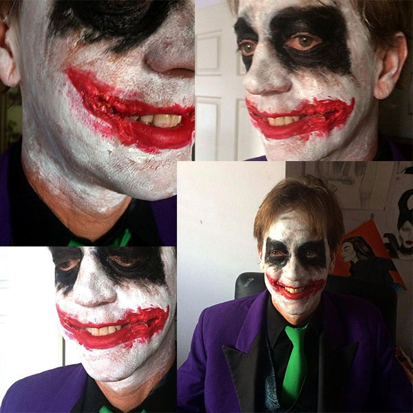Joker makeup for a costume party || liquid latex, fake blood and face paint || by Ashleigh Hunter