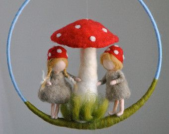 Children Mobile Waldorf inspired needle felted : The by MagicWool