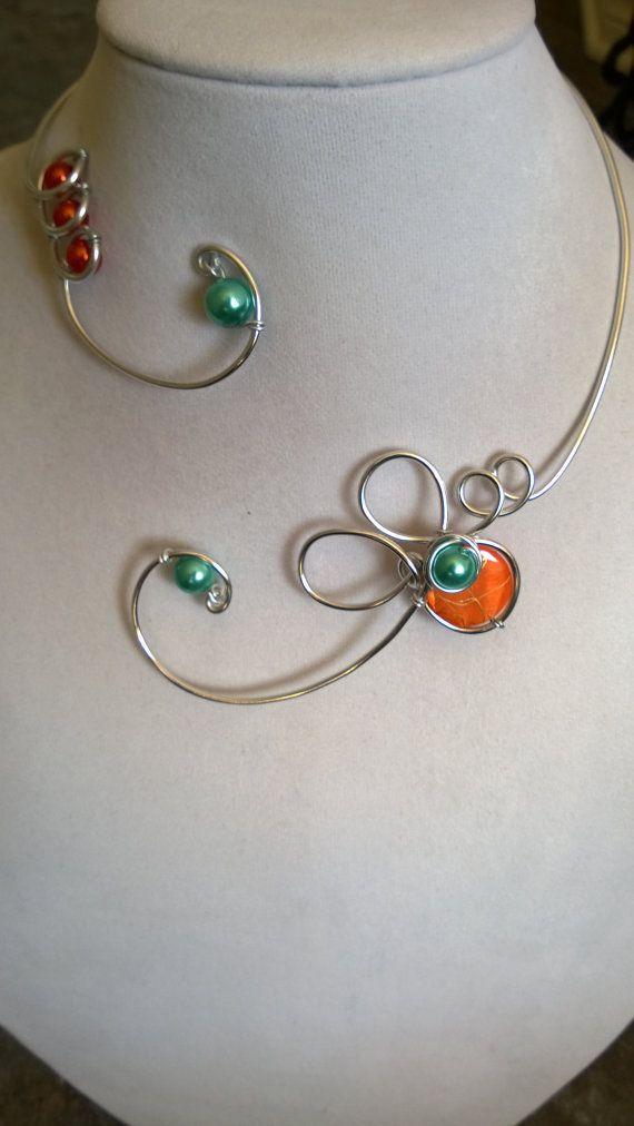 Wedding jewelry  Orange and turquoise by LesBijouxLibellule