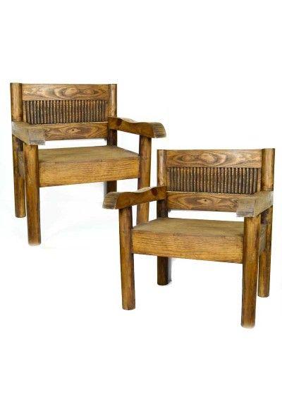Pareja de dos sillones estilo rústico. Fabricado en madera maciza que proviene de México (puede contener algunos defectos a causa de la fabricación de la madera maciza).  Medidas de una pieza 80 cm de alto x 68 cm de ancho x 60 cm de fondo. Peso de los dos sillones 28.200 Kg aprox.  Sillón para las entradas, salón, recibidor, despacho, oficina, sala de espera, cortijo, casa de campo, cortijo, chalet...  Envío gratis en 24h.