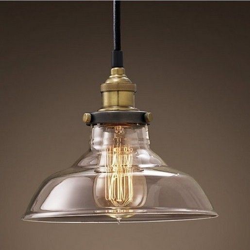 Promotion Quality Vintage North Europe Loft Copper Lamp Socket Glass Lampshade Pendant Lamp/Light Bar Lighting Free Shipping