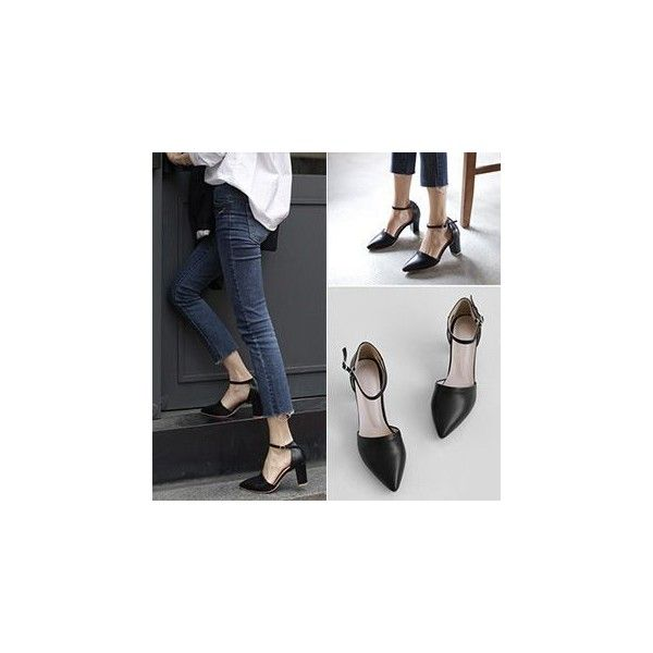 Chunky Heel Pointy Pumps (€25) ❤ liked on Polyvore featuring shoes, pumps, footware, thick high heel pumps, black pointed-toe pumps, black shoes, high heel shoes and chunky high heel pumps