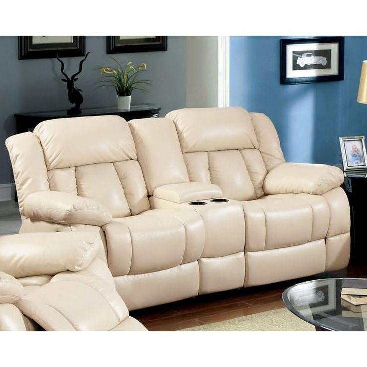 Furniture of America Rawene Bonded Leather Loveseat Recliner - IDF-6827LV