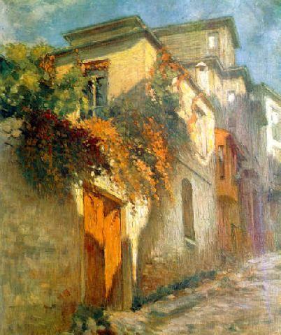 "Turkish impressionist artist Nazmi Ziya's ""Artist's house"" oil on canvas"