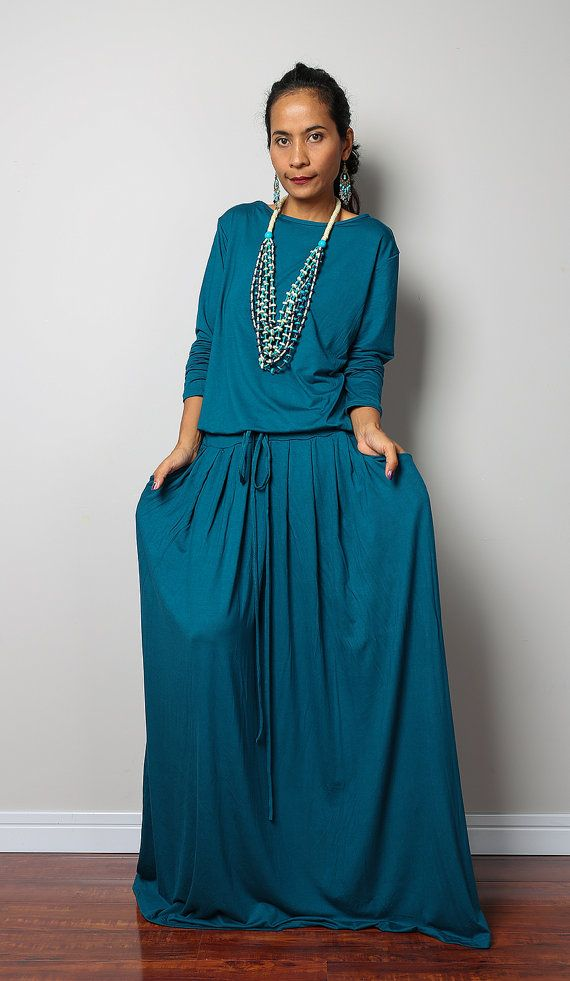 Modest Dress   Long Sleeve Turquoise Maxi Dress  Modest by #Nuichan #bitcoin #fashion #shopping