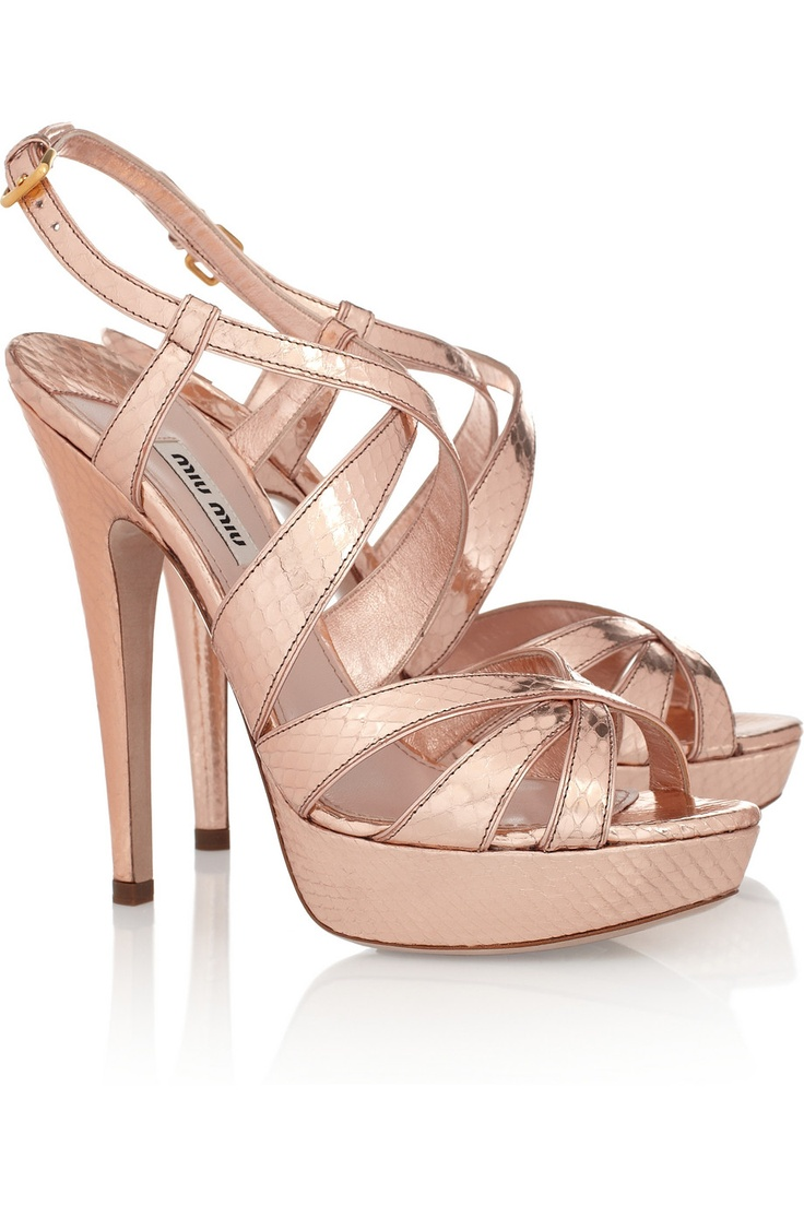 Miu Miu Metallic Watersnake Sandals: Pink Sandals, Watersnak Sandals, Miu Metallic, Shoes Sho, Miu Metals Watersnak, Pink Heels, Miu Miu Metals, Pink Shoes, Rose Gold