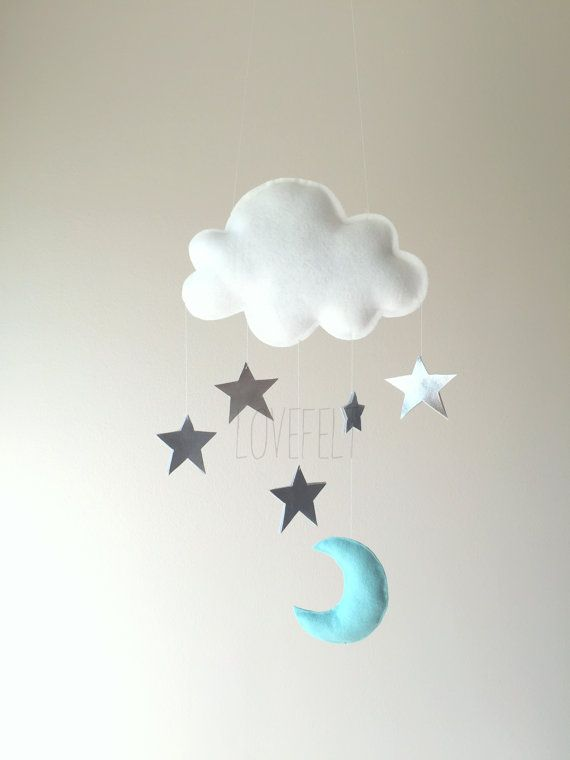 READY TO SHIP Baby mobile Stars mobile Cloud by lovefeltmobiles