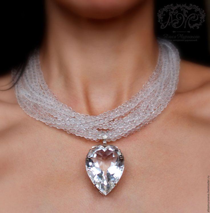 """Купить Колье с кулоном"""" С чистым сердцем """" горный хрусталь, серебро - сердце"""