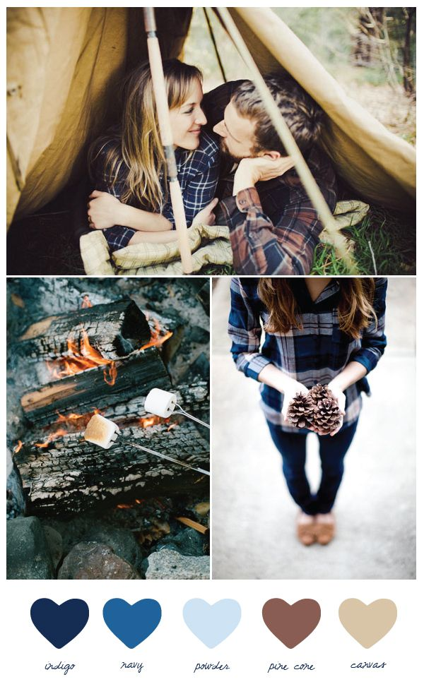 This color palette was inspired by cozy winter camping, loads of plaid and snuggly shades of blue and brown. Don't you just love the idea of winter camping? Think steamy mugs of hot cocoa, a big bonfire, roasted marshmallows and piles of wool blankets to keep warm.