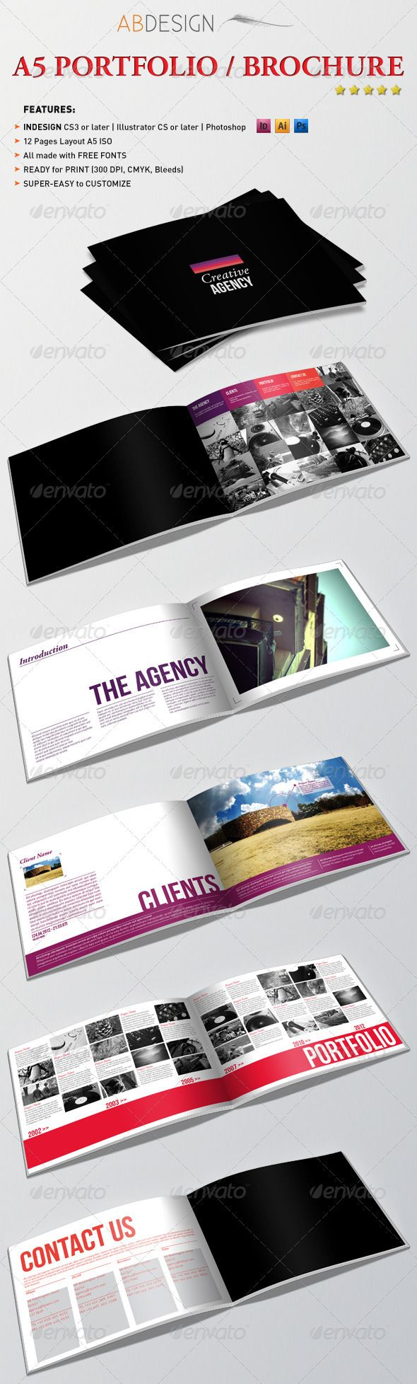 A5 Portfolio Brochure #GraphicRiver This is a complete layout for a Printable Brochure.