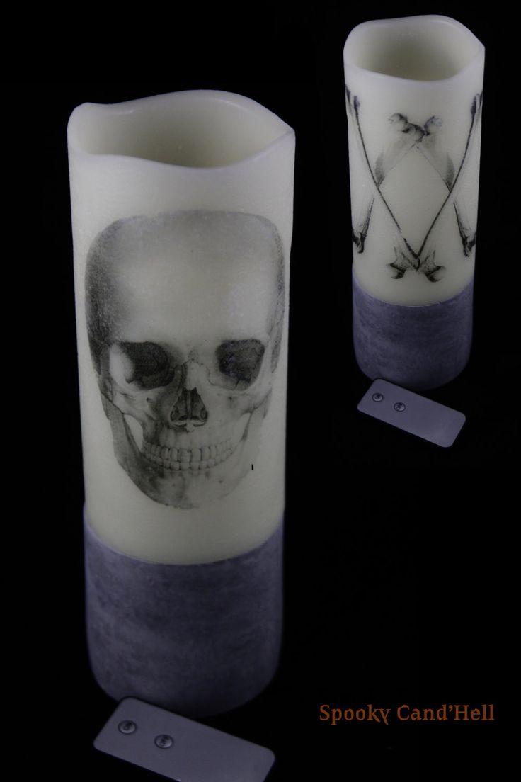 """Bougie """"Spooky Cand'Hell"""" à LED 2 faces crâne et os croisés. de la boutique MortBleue sur Etsy"""