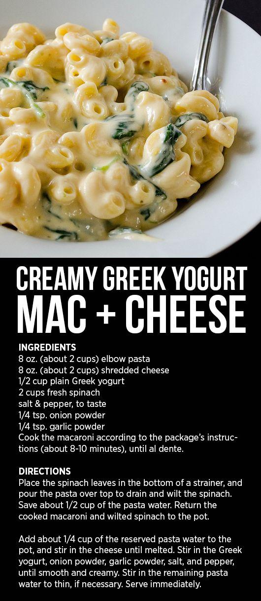 Creamy Greek Yogurt Mac & Cheese // cooking ala mel (parmesan noodles spinach)