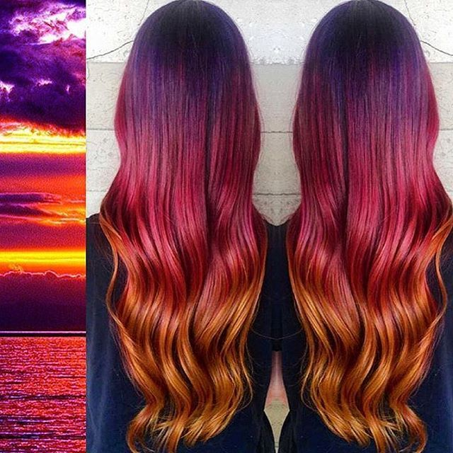 Sunset inspired hair color melt by Breezy Bree. Purple hair burnished pink hair copper hair color hotonbeauty.com