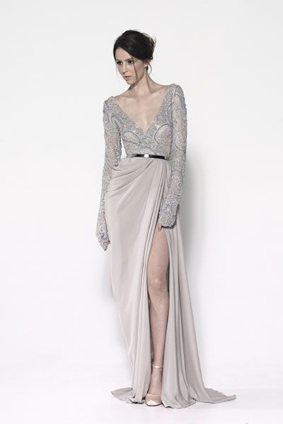 Long sleeved wrap dress in beaded French lace and draped silk crepe skirt.