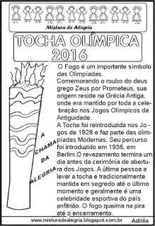Mistura de Alegria: TOCHA OLÍMPICA 2016, DESENHO, TEXTO E ATIVIDADE, I...