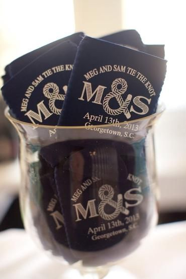 Nautical Wedding Favor Koozies we could have these supper cute