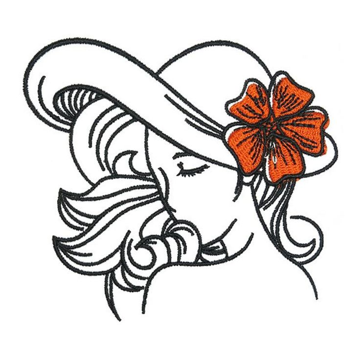 Lady Embroidery Design Instant Download PES DST Etsy in