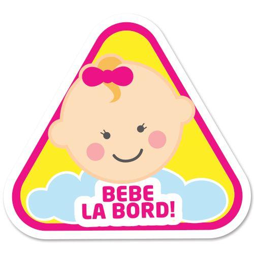 Autocolant (sticker) auto ce reprezinta un bebelus fetita cu mesajul Bebe la bord.