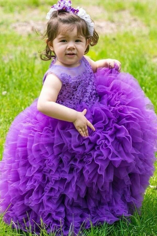 a124cd8aa7ab Multi Tiers Tulle Lace Ball Gown for Kids Wedding Party Dress Purple |  beautiful dresses | Wedding dresses, Flower girl dresses, Kids gown