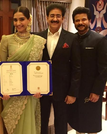 "We extend our heartiest congratulations to Sonam Kapoor on receiving National Award for her dynamic performance in feature film Neerja Directed by Ram Madhvani,"" said Sandeep Marwah President Marwah Studios complimenting Sonam and greeting to Anil Kapoor at Vigyan Bhawan. The Honorable President of India Shri Pranab Mukerjee bestowed upon the National award for Best Feature Film- Neerja and Special Mention to Actress Sonam Kapoor in a majestic function at Vigyan Bhawan in the august presence…"