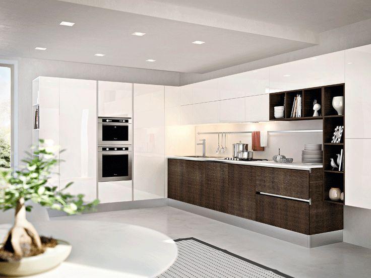 white / dark wood modern kitchen