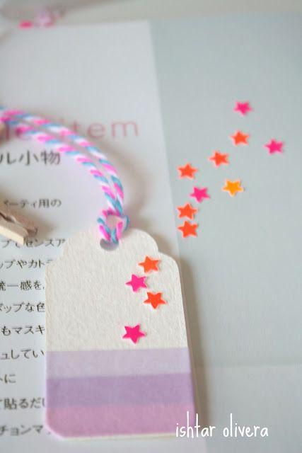 Etiqueta decorada con washi tape