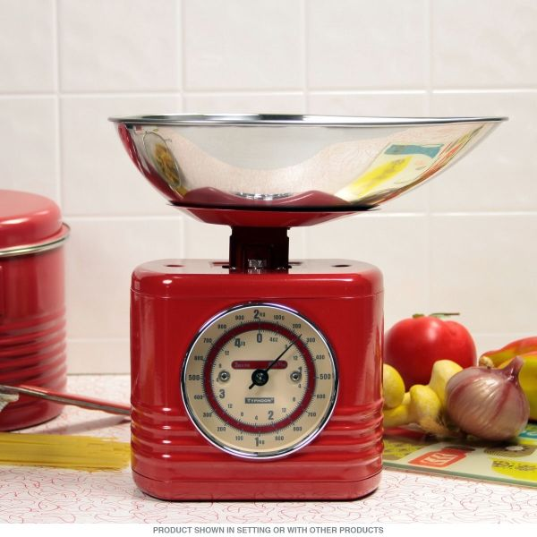 Vintage Style Steel Kitchen Scale Red